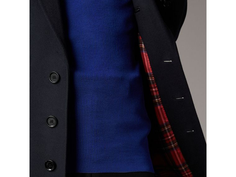 Tartan-lined Cashmere Twill Topcoat in Navy - Men | Burberry - cell image 1