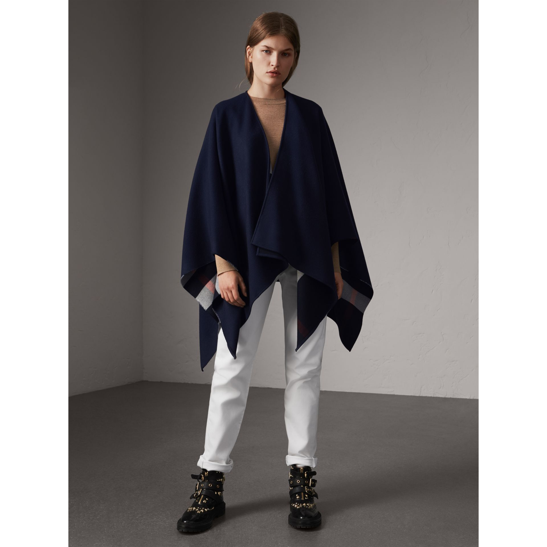 Reversible Check Merino Wool Poncho in Navy - Women | Burberry - gallery image 1
