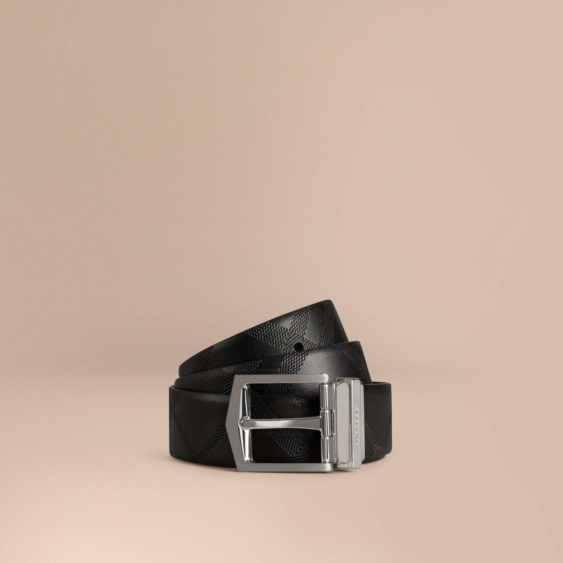 Reversible Embossed Check Leather Belt Black - gallery image 1