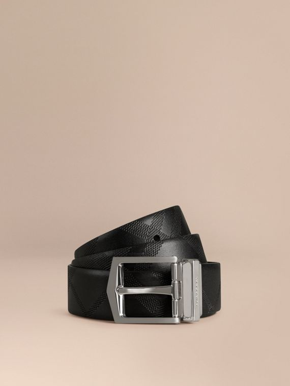 Reversible Embossed Check Leather Belt Black