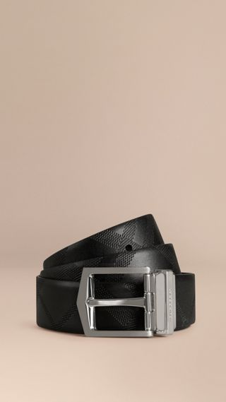 Reversible Embossed Check Leather Belt