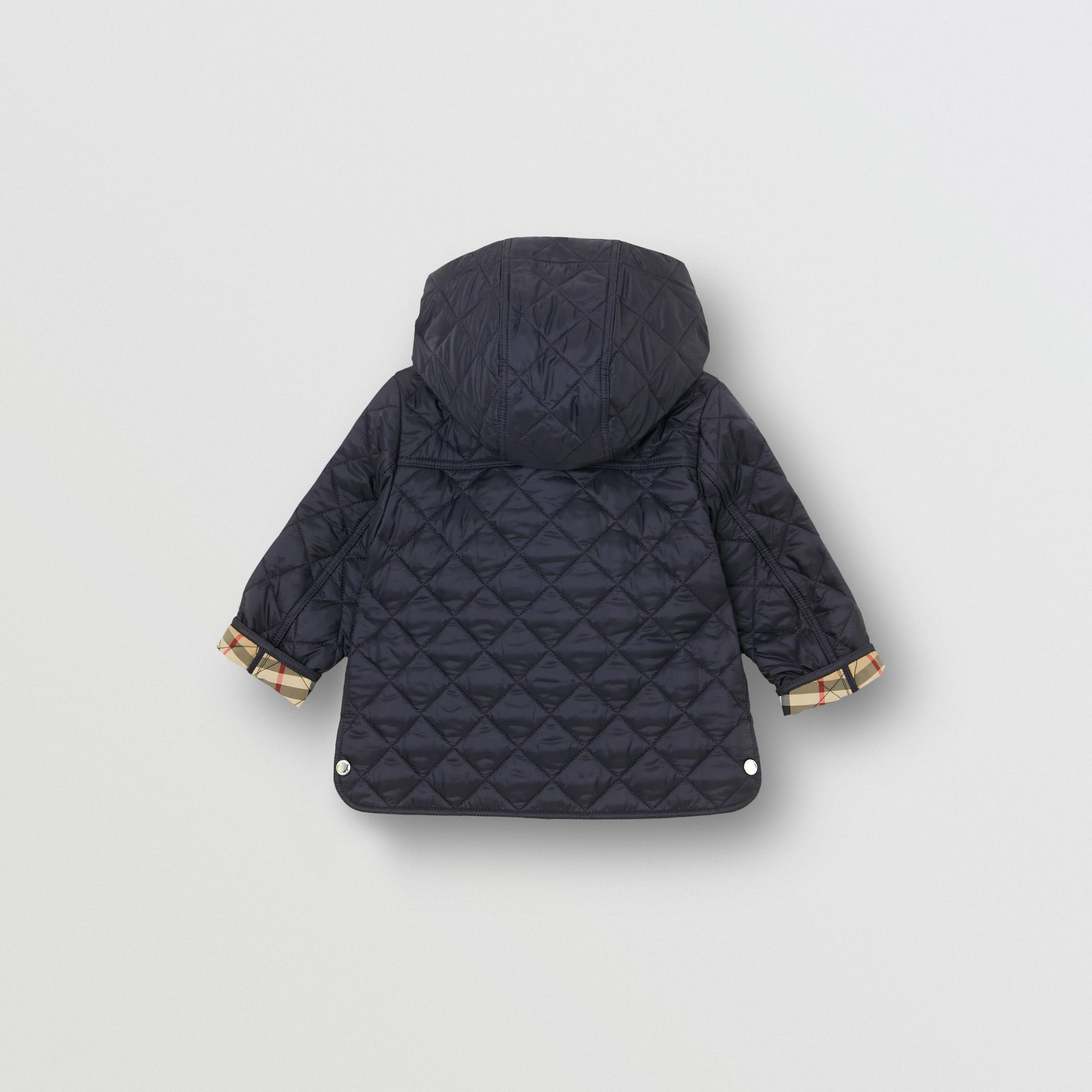 Detachable Hood Diamond Quilted Jacket in Navy - Children | Burberry - gallery image 3