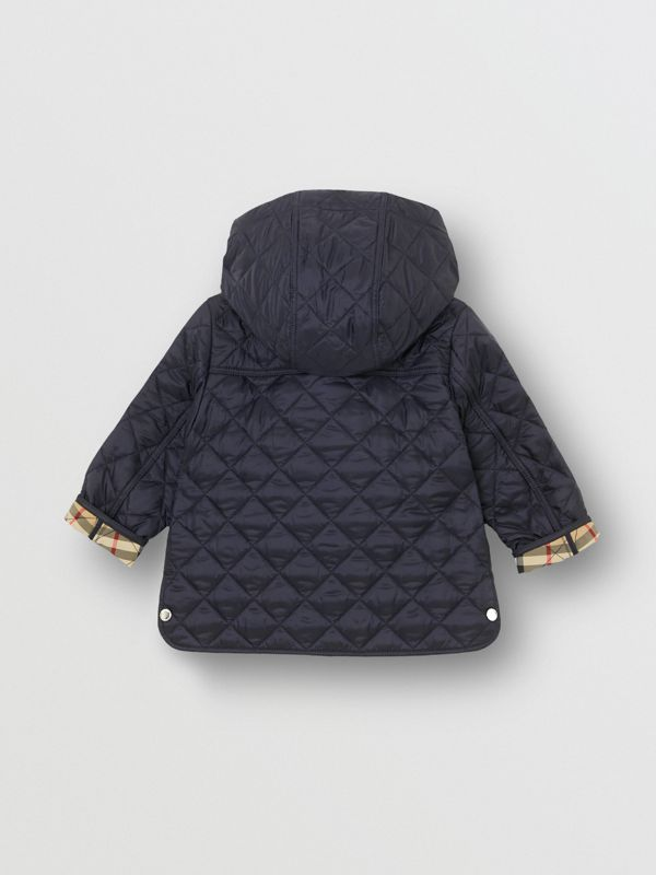 Detachable Hood Diamond Quilted Jacket in Navy - Children | Burberry - cell image 3