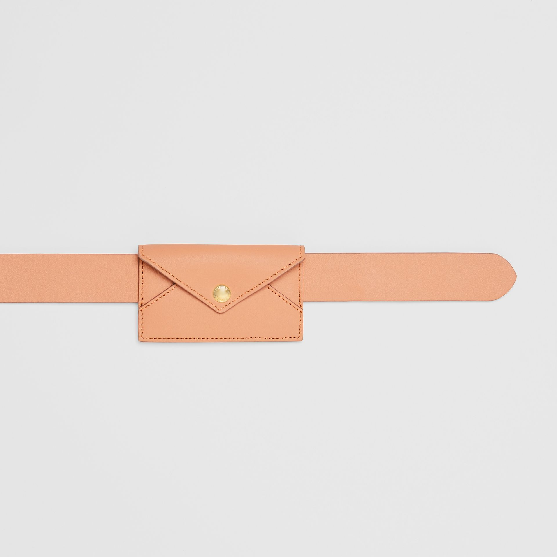 Envelope Detail Leather Belt in Pale Brick - Women | Burberry - gallery image 1