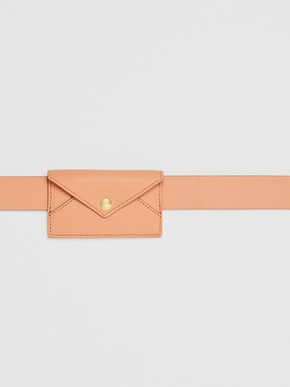 Envelope Detail Leather Belt in Pale Brick - Women | Burberry United States - cell image 1
