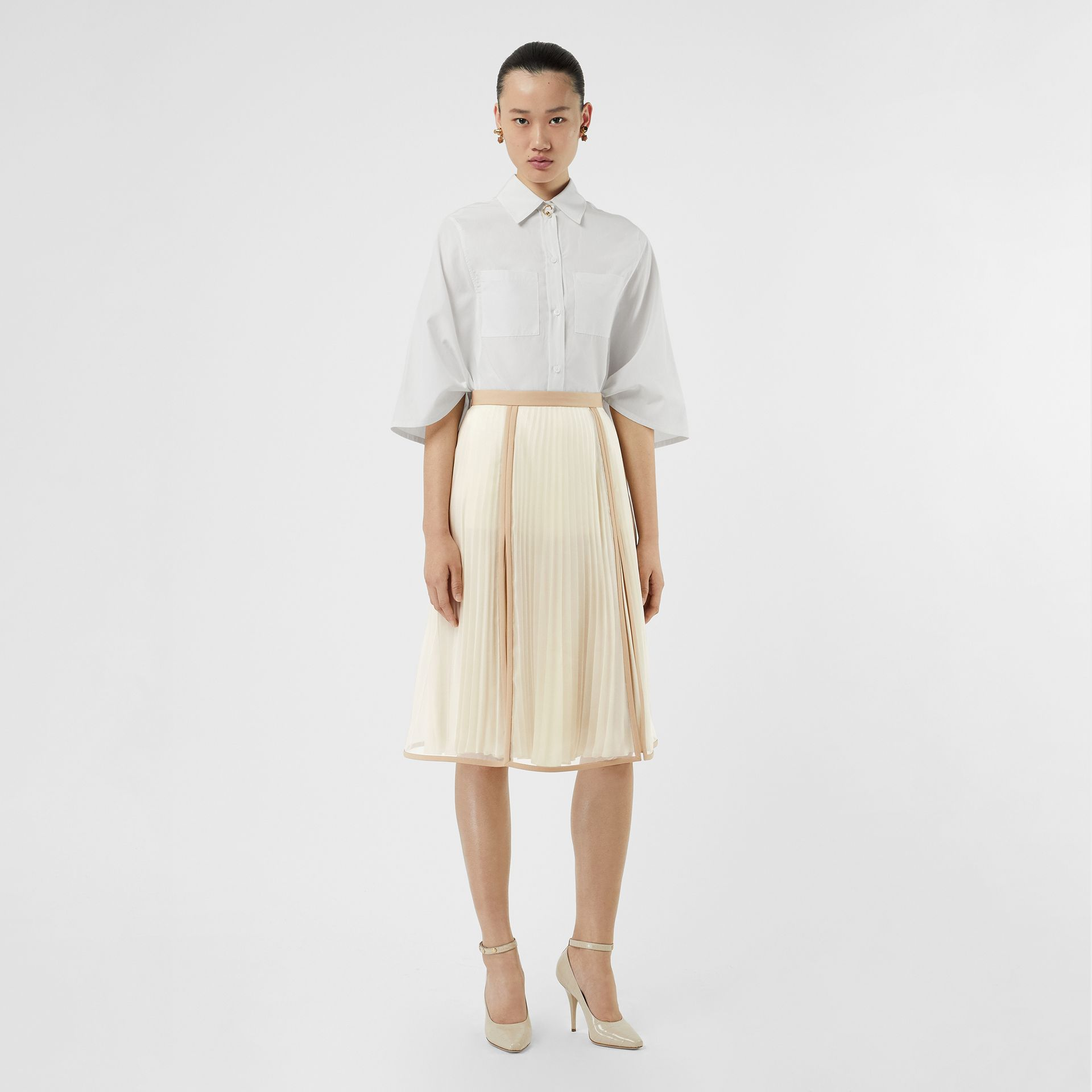 Chiffon Panel Silk Pleated Skirt in Magnolia - Women | Burberry - gallery image 0