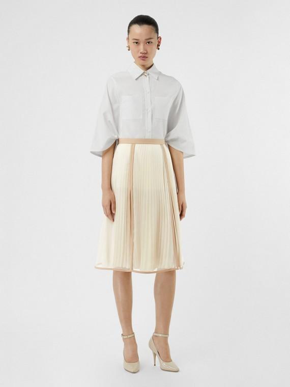 Шелковая плиссированная юбка со вставкой из шифона (Магнолия)