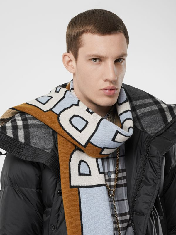 Logo Cashmere Jacquard Scarf in Pale Blue | Burberry Singapore - cell image 2