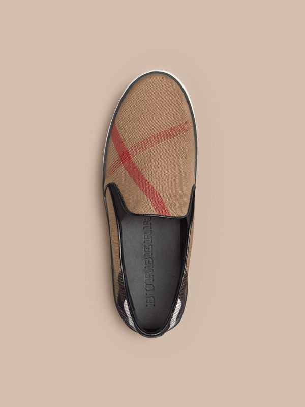 Check Slip-On Trainers in Black - Women | Burberry - cell image 2