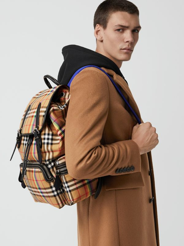 The Large Rucksack in Rainbow Vintage Check in Antique Yellow | Burberry - cell image 3