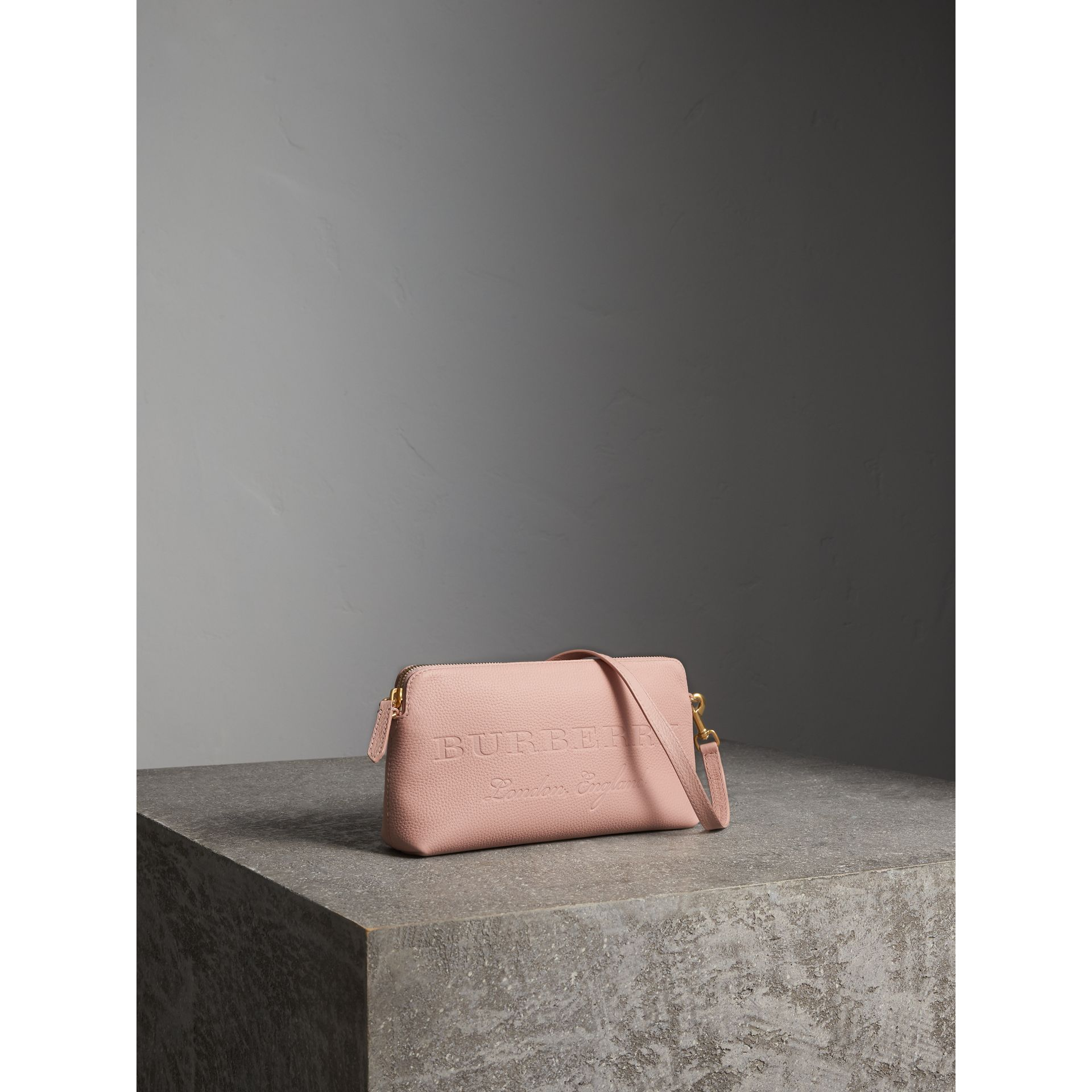 Embossed Leather Clutch Bag in Pale Ash Rose - Women | Burberry - gallery image 7