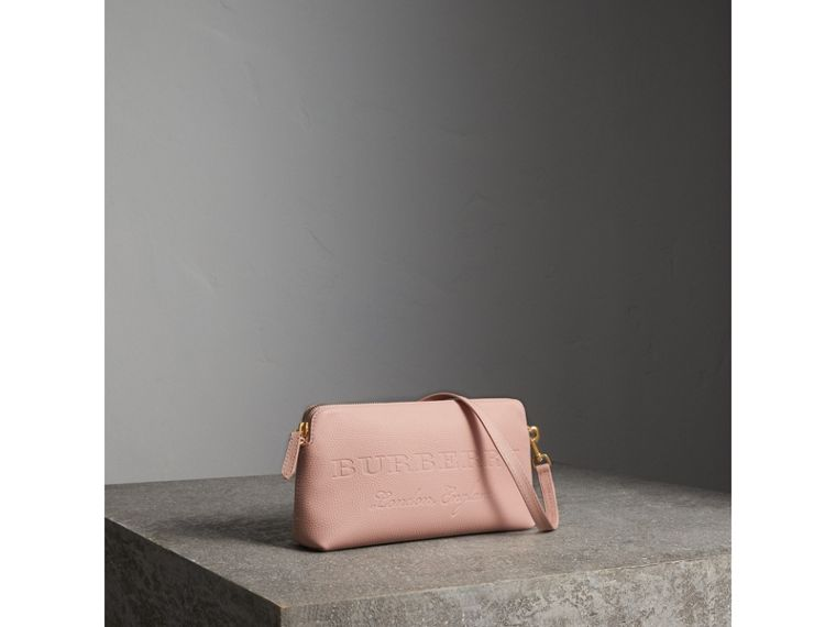 Embossed Leather Clutch Bag in Pale Ash Rose - Women | Burberry - cell image 4