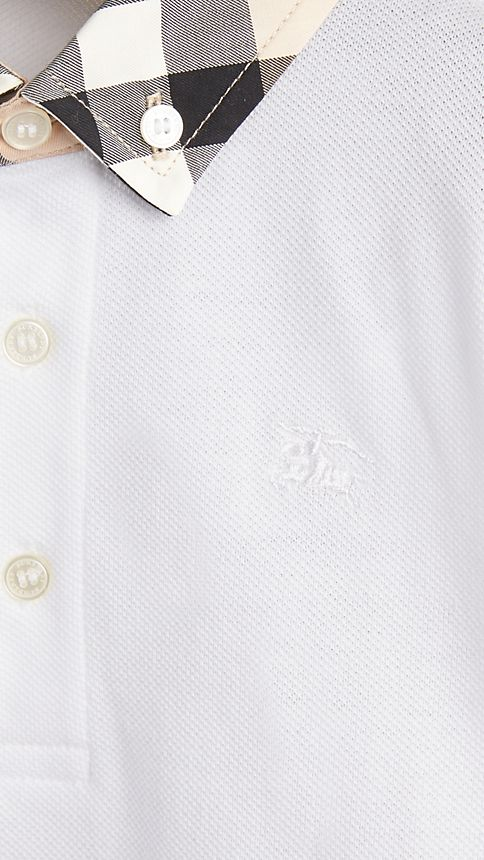 White Check Collar Polo Shirt - Image 3