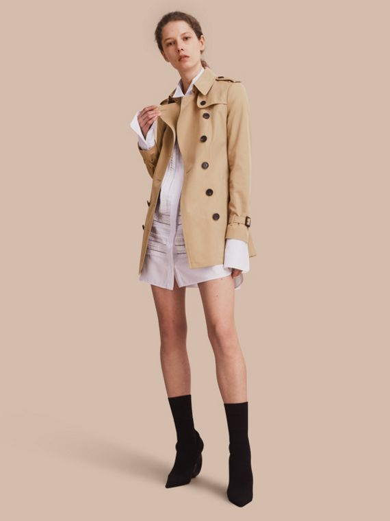 The Sandringham - Trench coat Heritage curto Mel