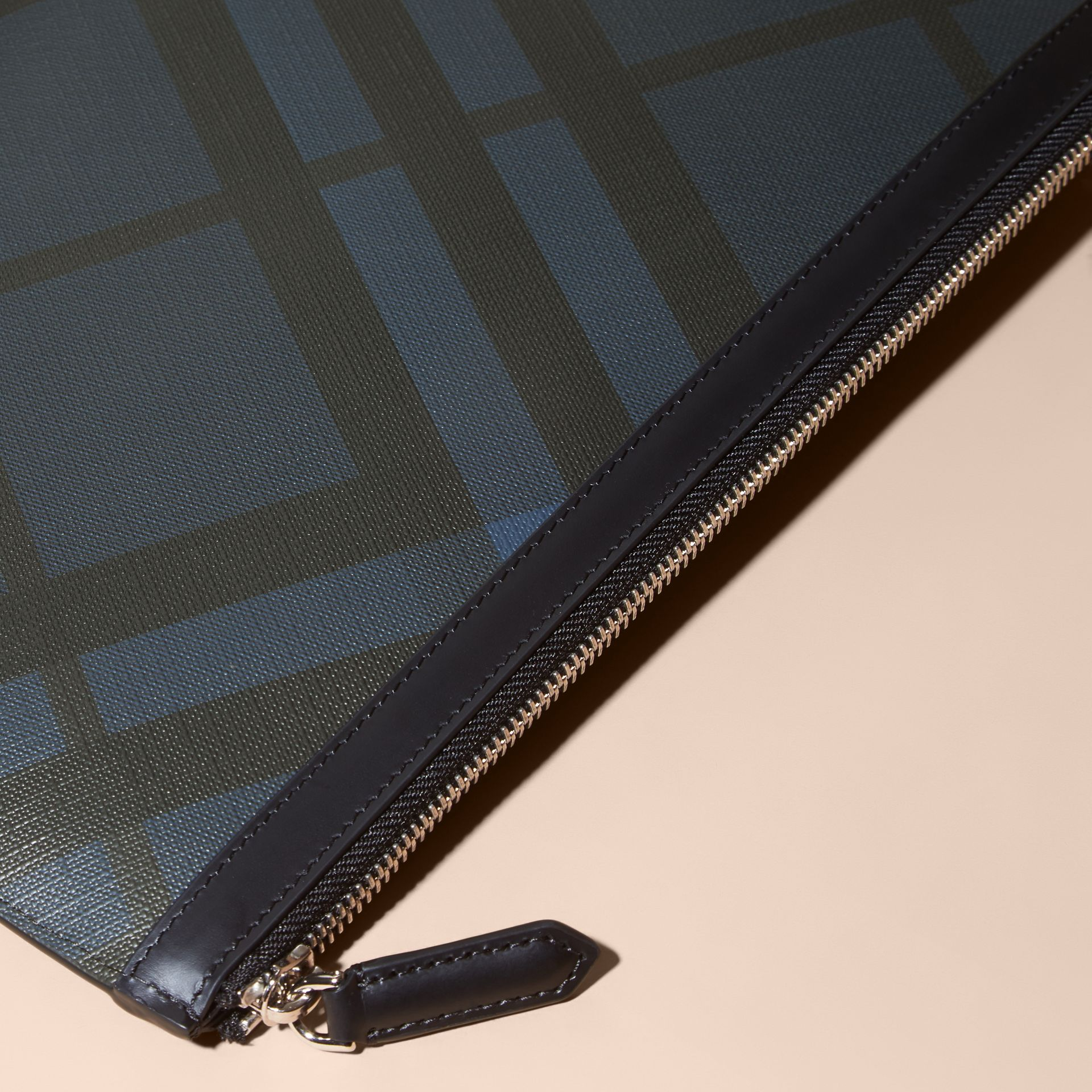 Zipped London Check Pouch in Navy/black - Men | Burberry - gallery image 3