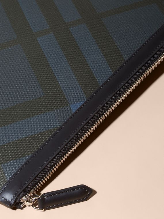 Zipped London Check Pouch in Navy/black - Men | Burberry - cell image 2