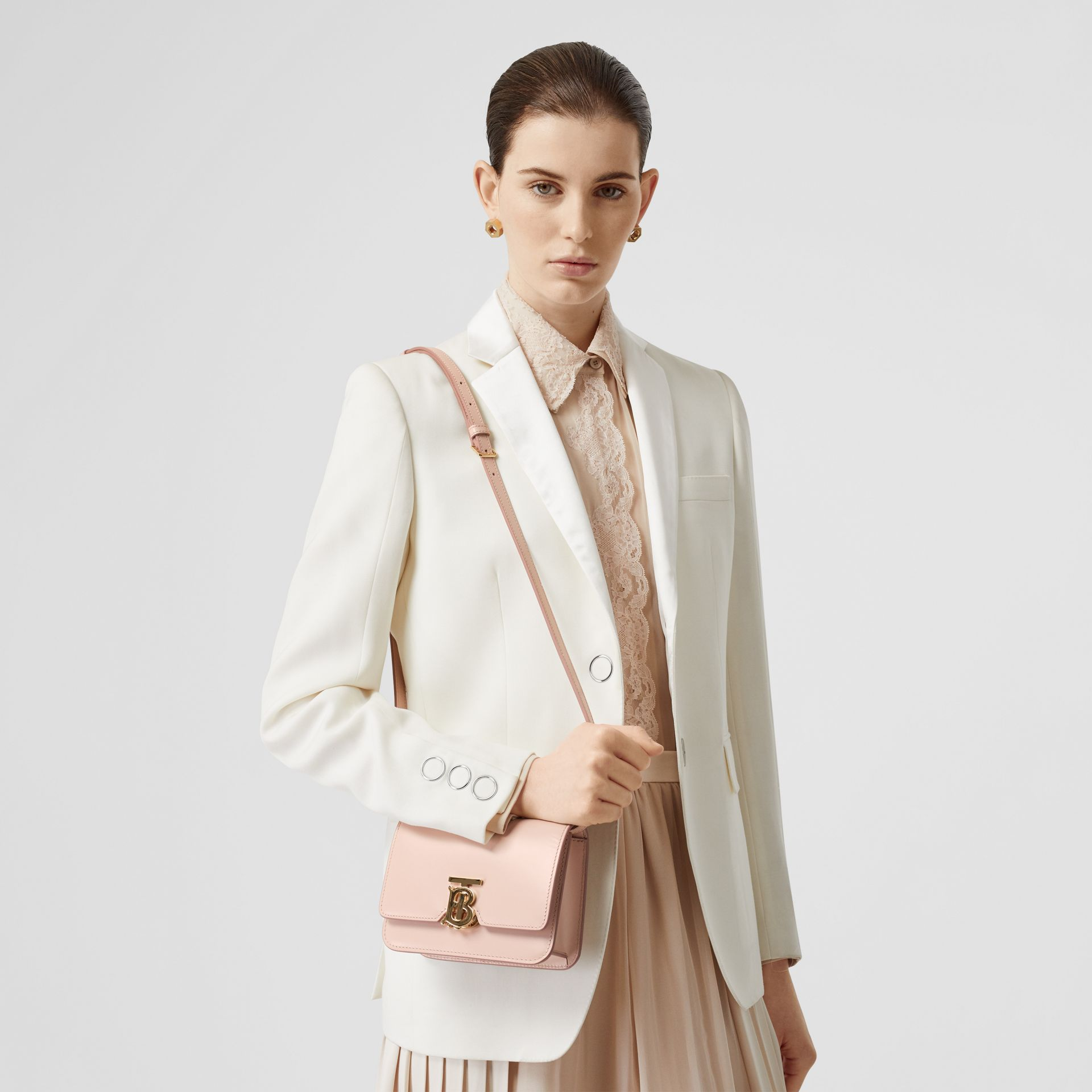 Mini Leather TB Bag in Rose Beige - Women | Burberry United States - gallery image 2