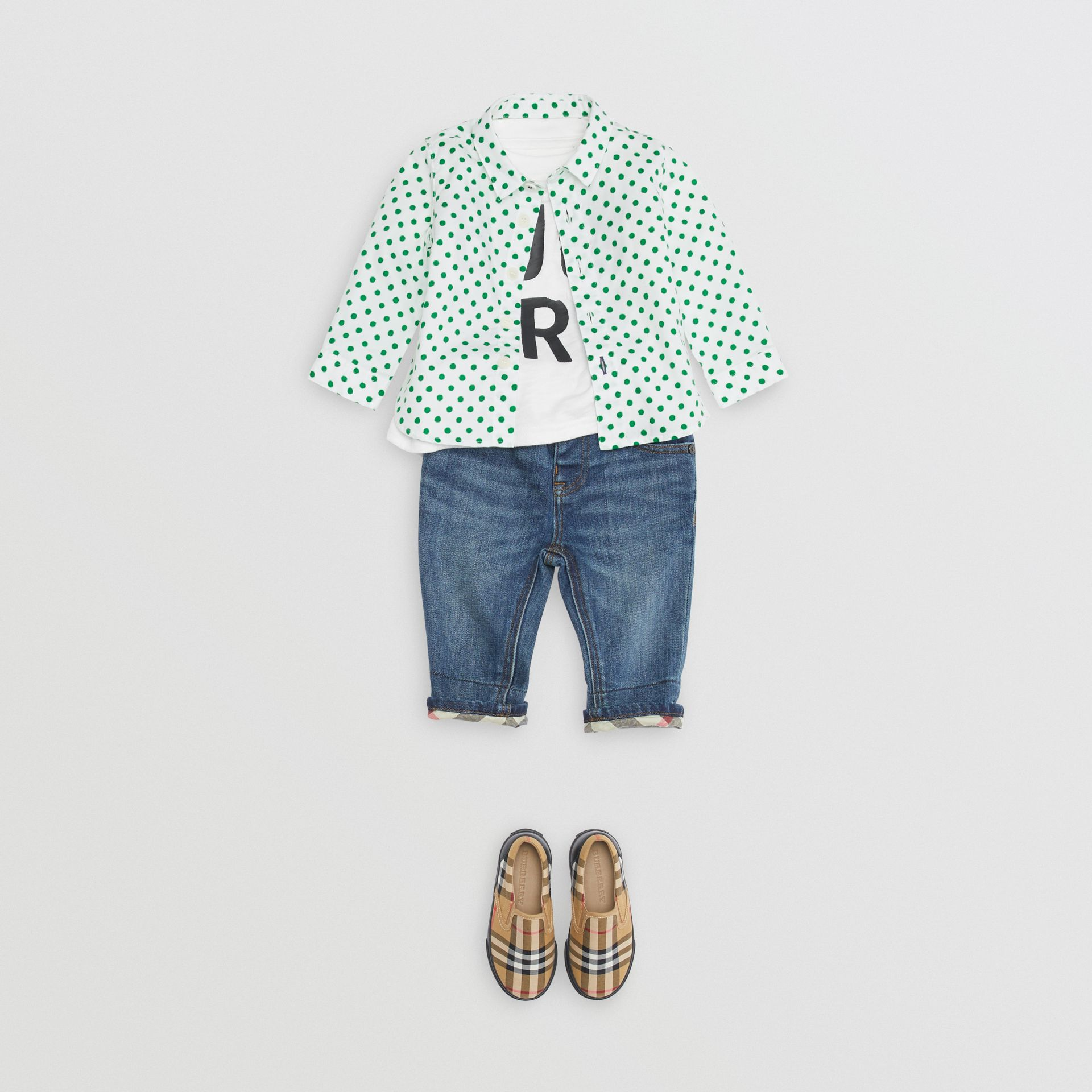 Polka Dot Cotton Oxford Shirt in Emerald Green - Children | Burberry - gallery image 2