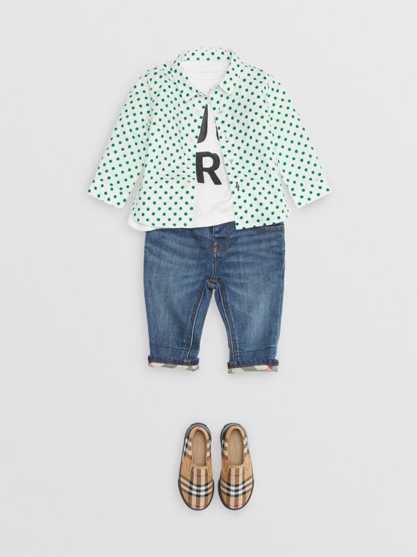 Polka Dot Cotton Oxford Shirt in Emerald Green - Children | Burberry - cell image 2