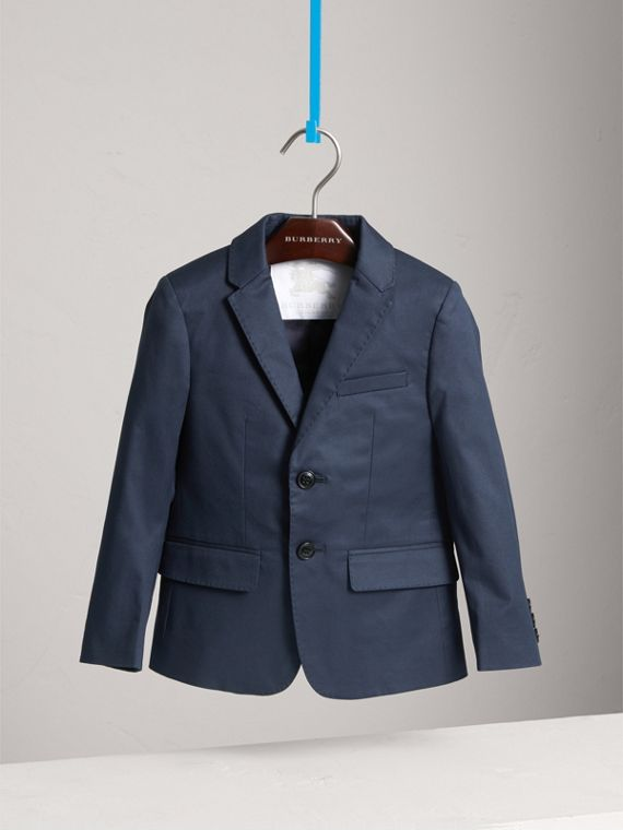Tailored Stretch Cotton Blazer in Navy