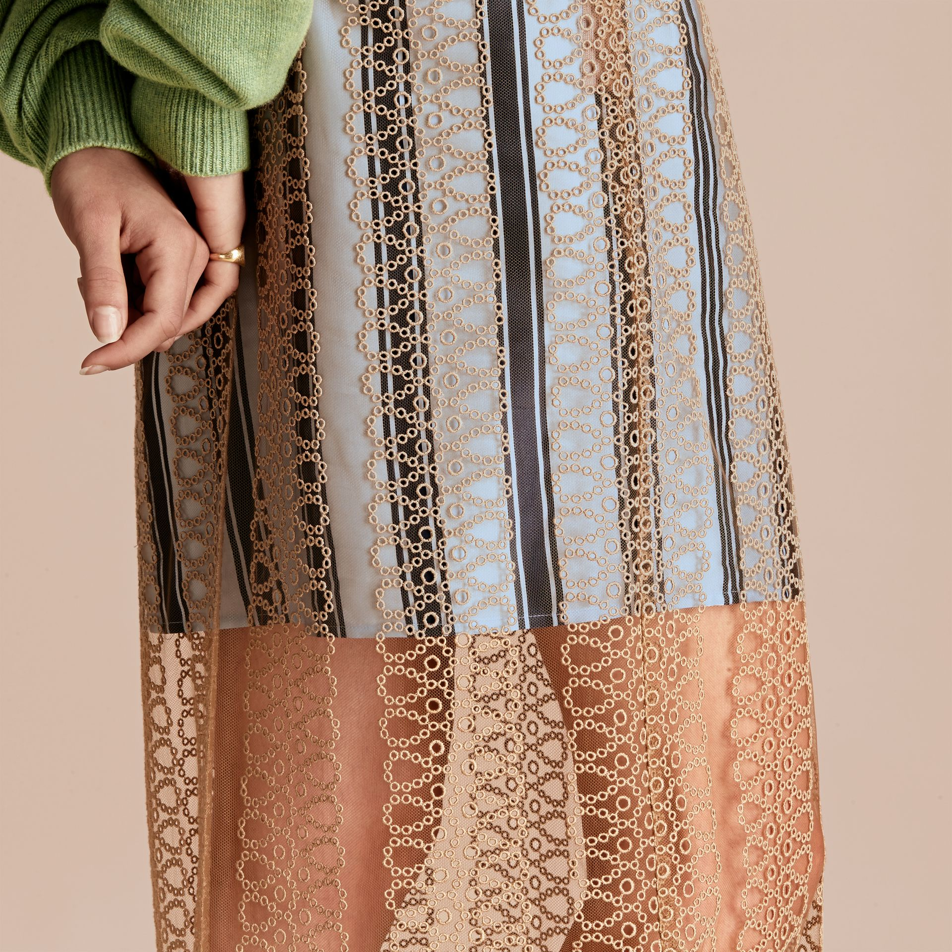 Braided Tulle Column Skirt with Striped Lining in Bright Toffee - gallery image 5