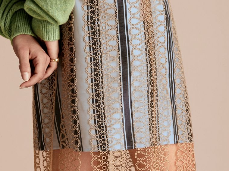 Braided Tulle Column Skirt with Striped Lining in Bright Toffee - cell image 4