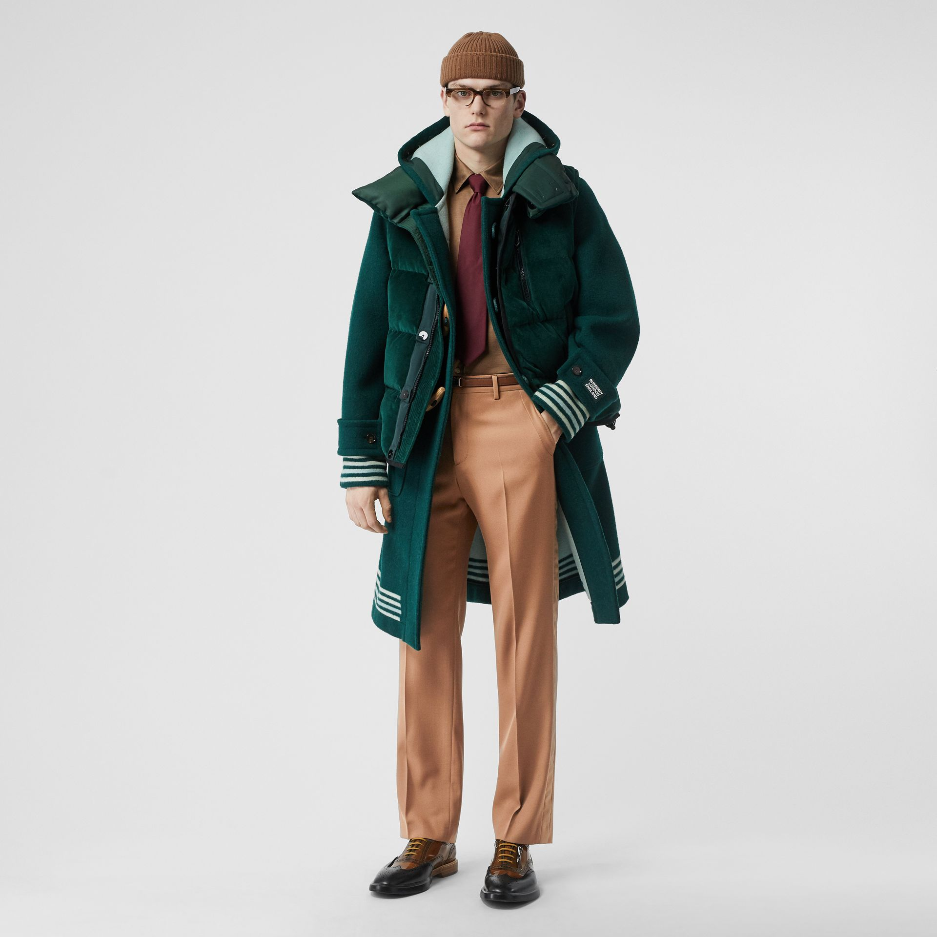 Stripe Detail Wool Tailored Trousers in Warm Camel - Men | Burberry - gallery image 0