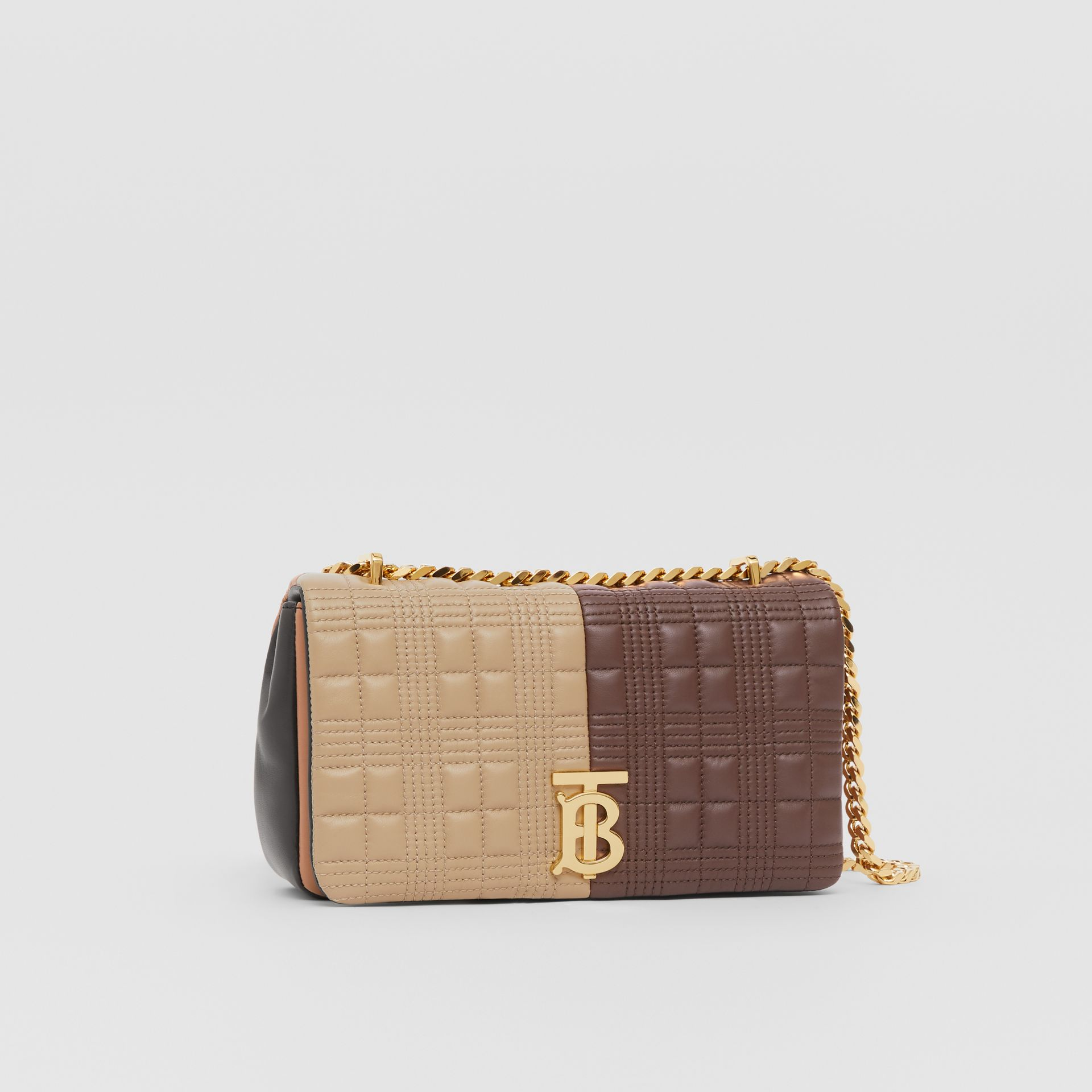 Small Quilted Colour Block Lambskin Lola Bag in Soft Fawn/dark Mocha - Women | Burberry Canada - gallery image 6
