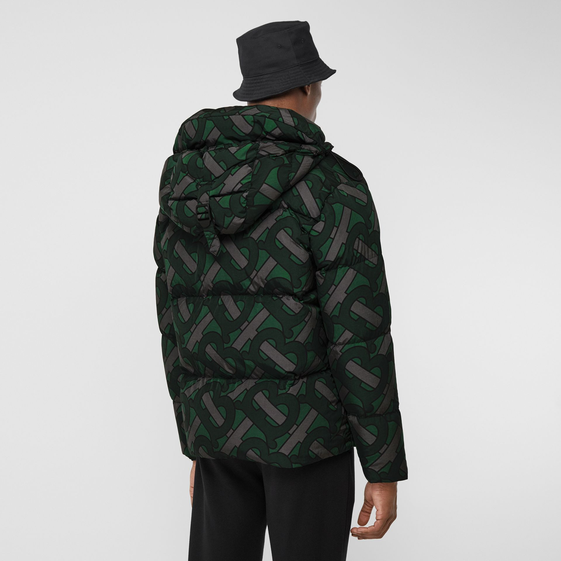 Monogram Print Puffer Jacket in Forest Green | Burberry - gallery image 7