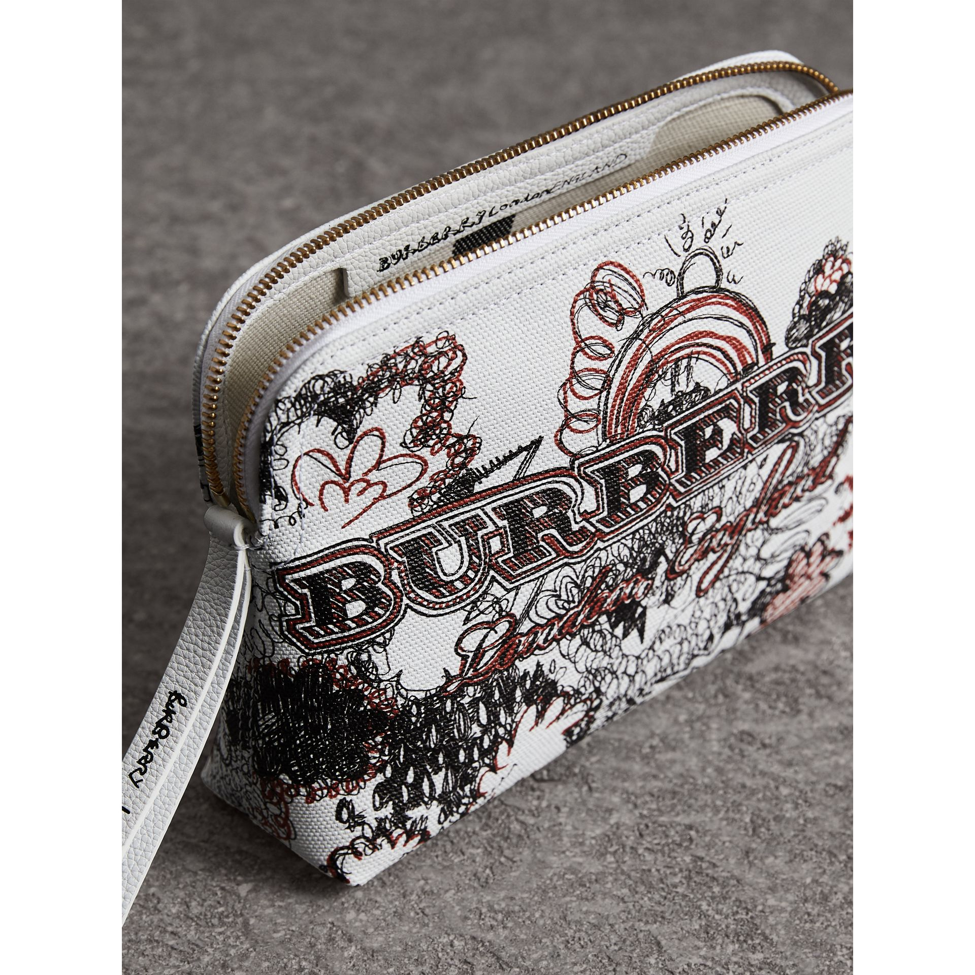 Large Zip-top Doodle Print Coated Canvas Pouch in White/black - Women | Burberry Australia - gallery image 4