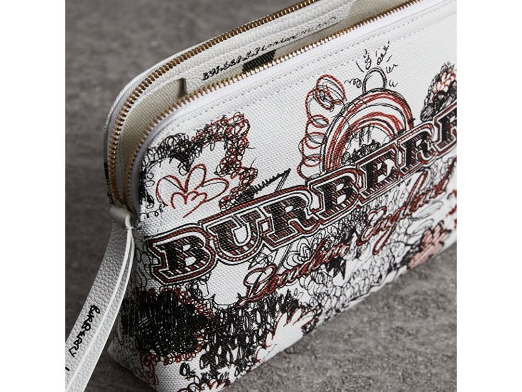 Large Zip-top Doodle Print Coated Canvas Pouch in White/black - Women | Burberry - cell image 4