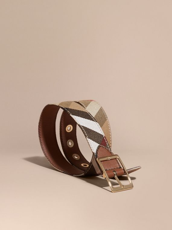 Reversible House Check and Grainy Leather Belt Camel/tan