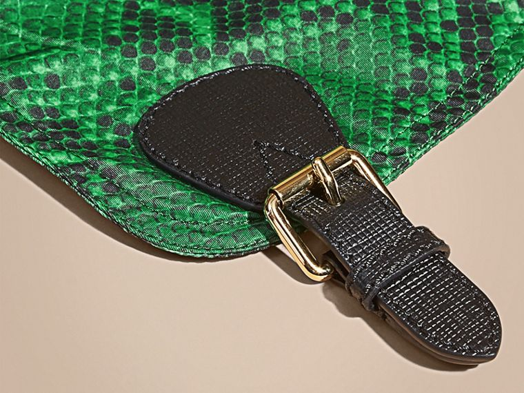 The Large Rucksack in Python Print Nylon and Leather in Green - cell image 1