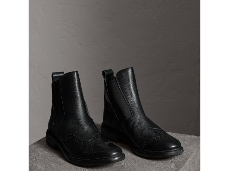 Brogue Detail Polished Leather Chelsea Boots in Black - Men | Burberry - cell image 4