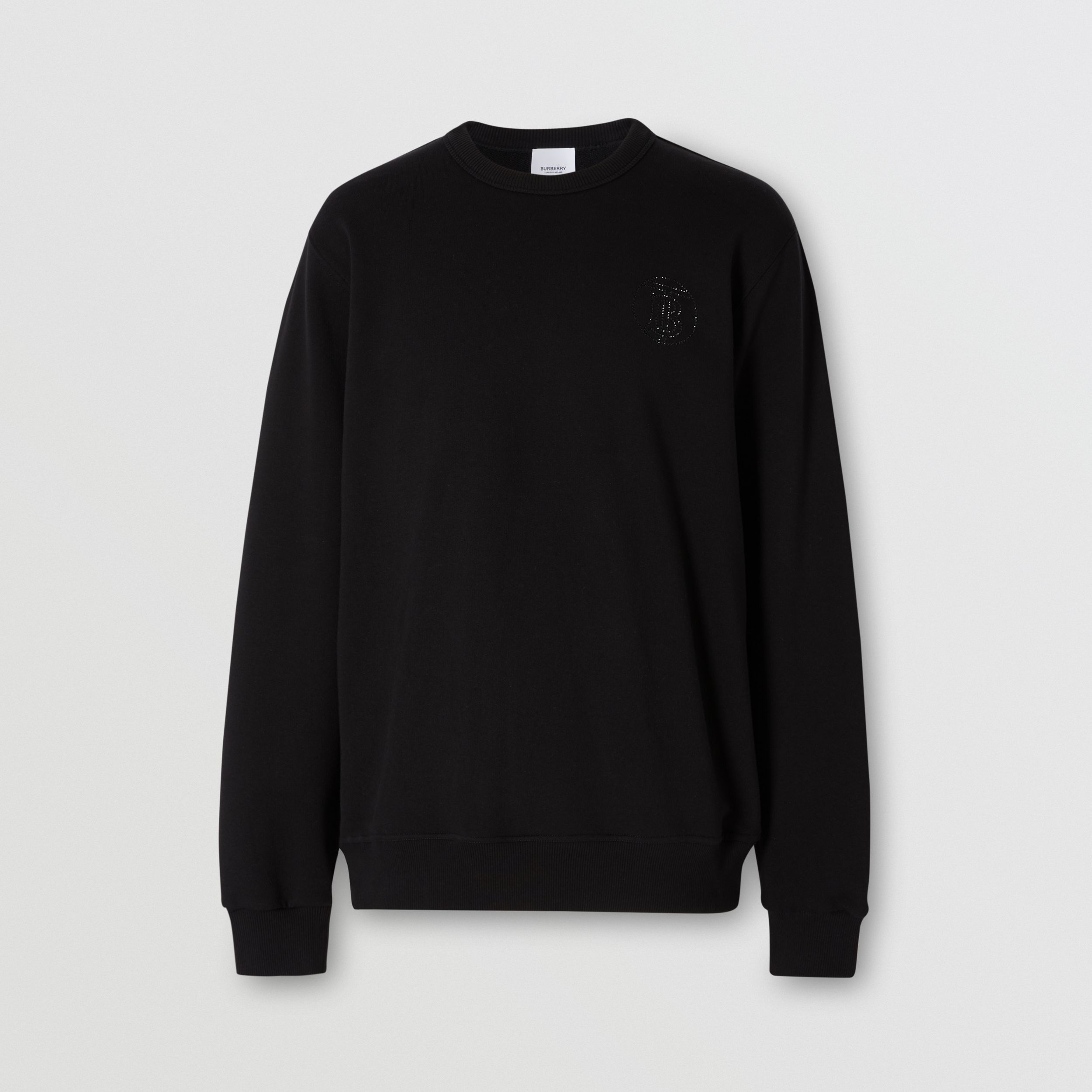 Crystal Monogram Motif Cotton Sweatshirt in Black - Men | Burberry - 4
