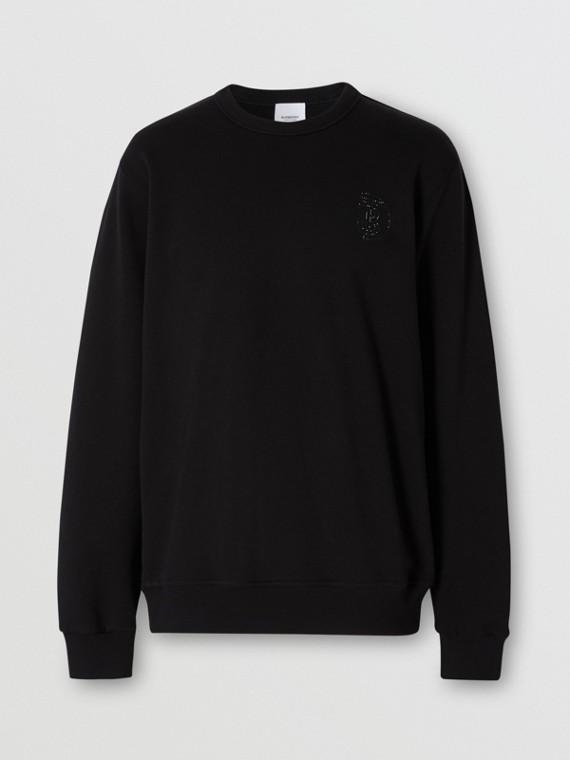Crystal Monogram Motif Cotton Sweatshirt in Black