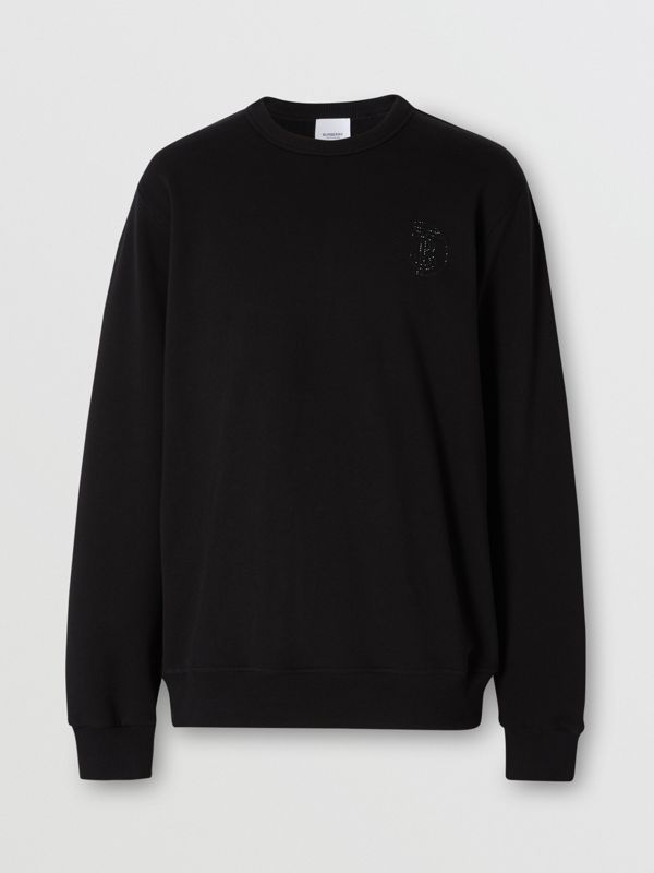 Crystal Monogram Motif Cotton Sweatshirt in Black - Men | Burberry Hong Kong S.A.R - cell image 3