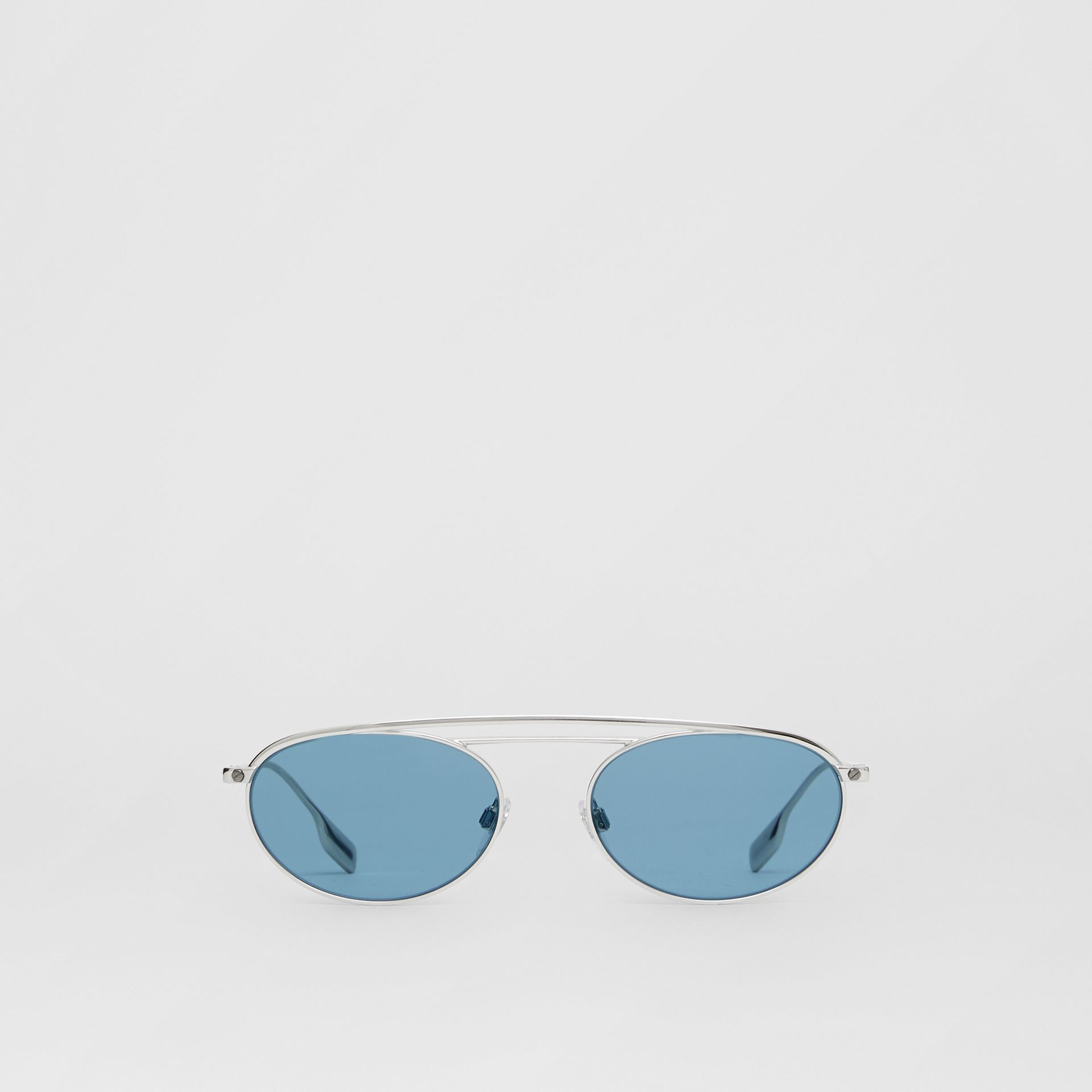 Oval Frame Sunglasses in Light Blue - Women | Burberry - gallery image 0
