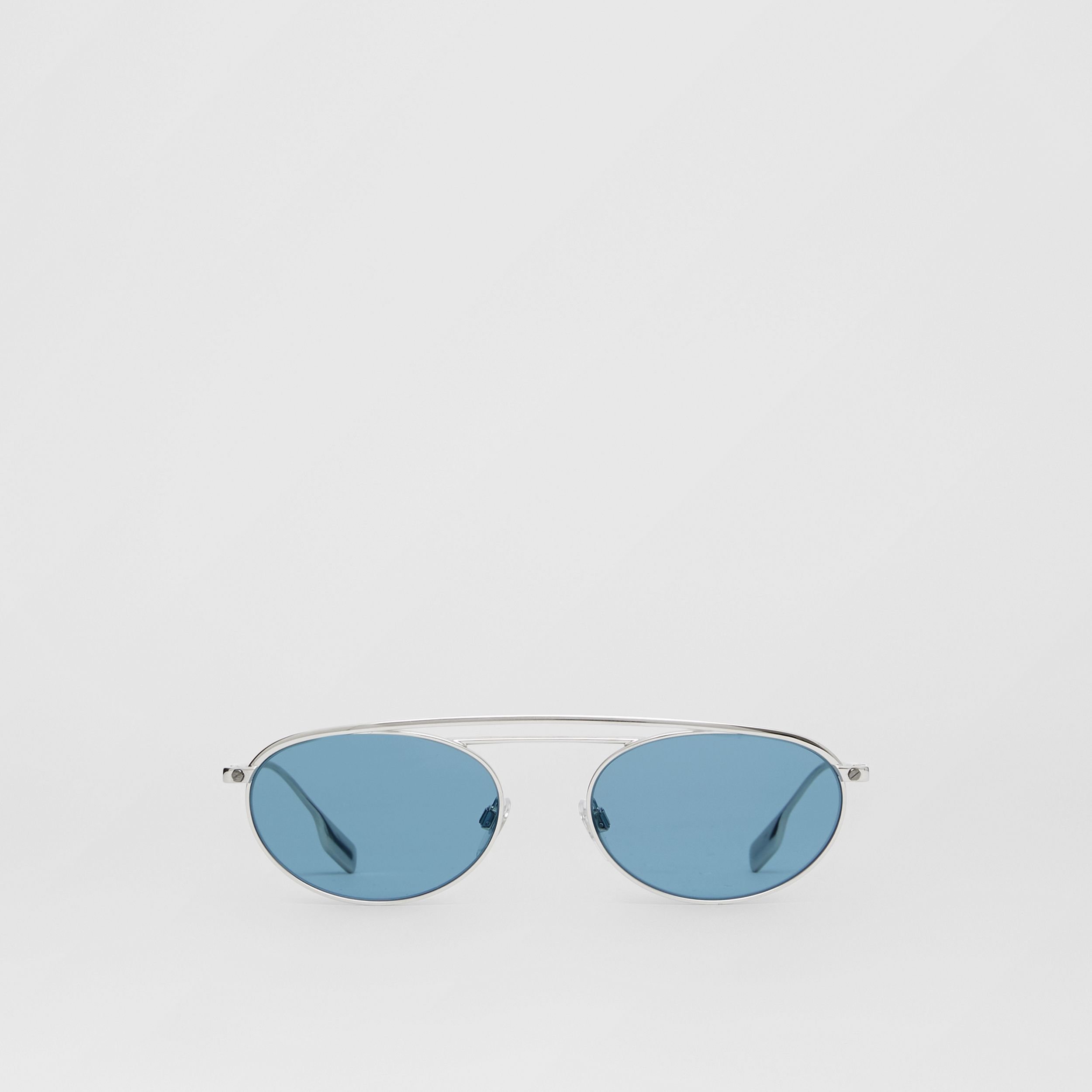 Oval Frame Sunglasses in Light Blue - Women | Burberry - 1