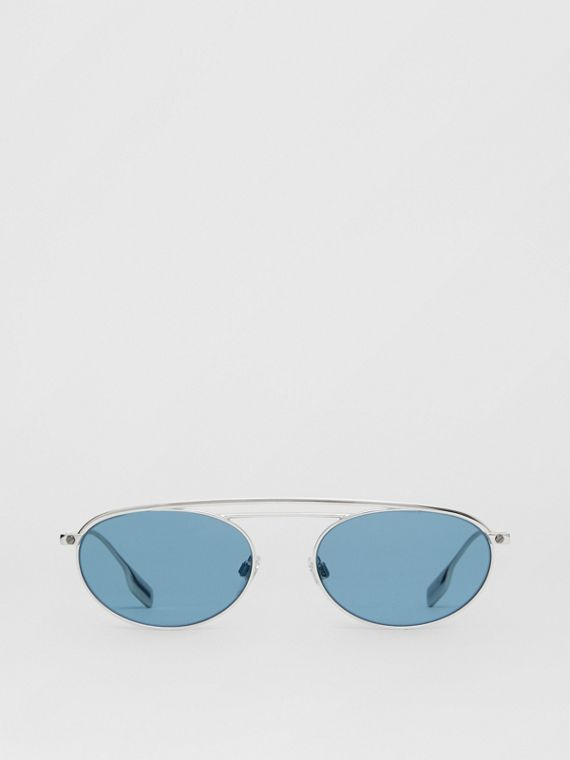 Oval Frame Sunglasses in Light Blue