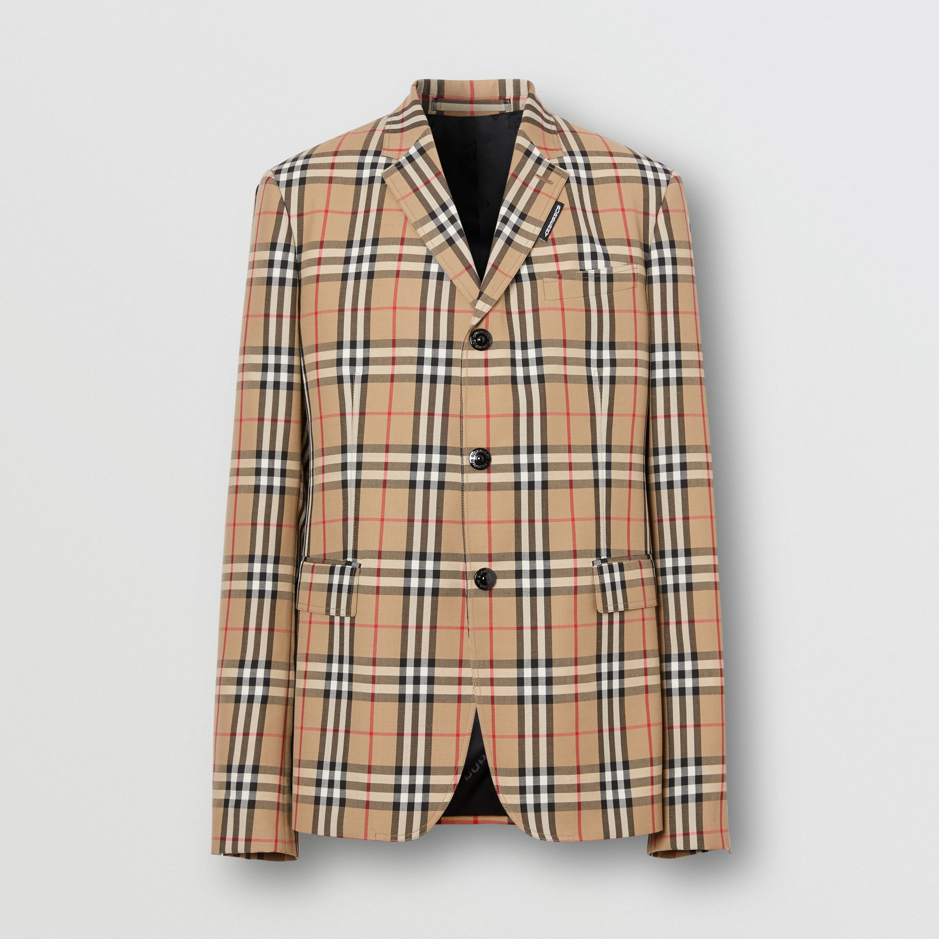 Slim Fit Vintage Check Wool Mohair Tailored Jacket in Archive Beige - Men | Burberry United Kingdom - gallery image 3