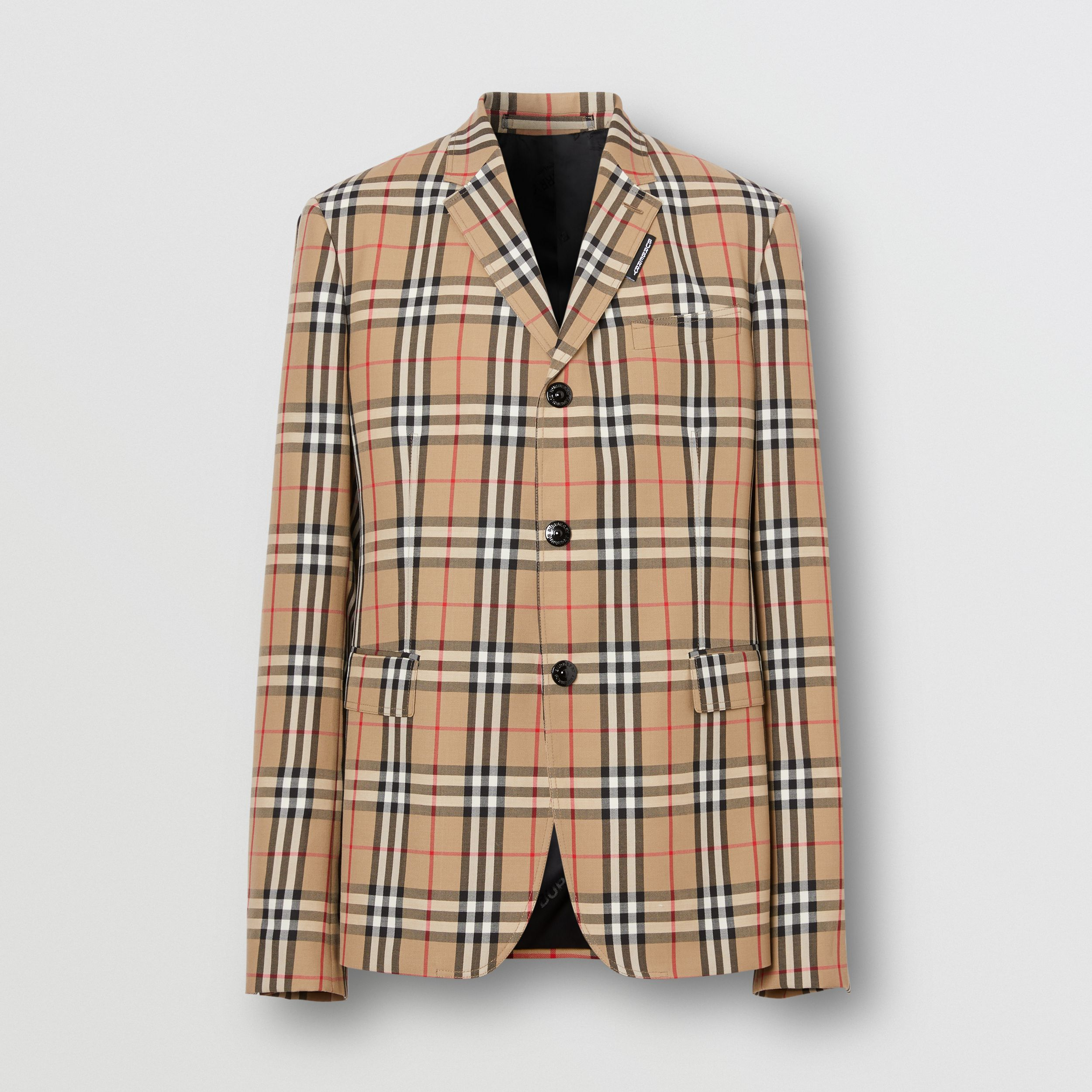 Slim Fit Vintage Check Wool Mohair Tailored Jacket in Archive Beige - Men | Burberry - 4