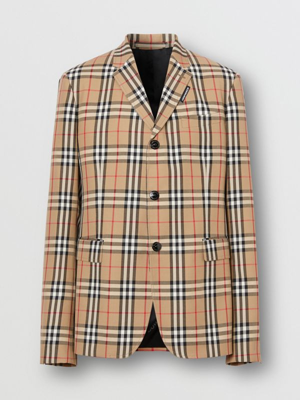 Slim Fit Vintage Check Wool Mohair Tailored Jacket in Archive Beige - Men | Burberry United Kingdom - cell image 3