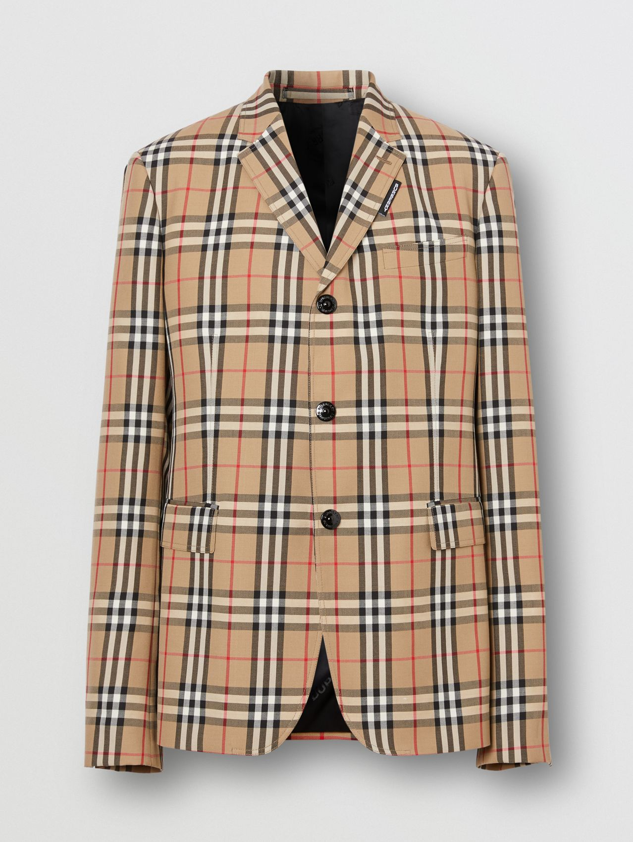 Slim Fit Vintage Check Wool Mohair Tailored Jacket in Archive Beige