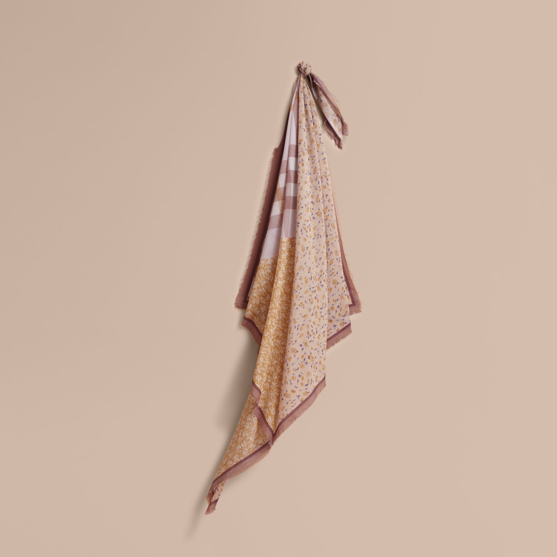 Lightweight Floral and Check Print Cotton Silk Scarf in Pale Ochre - Women | Burberry - gallery image 1