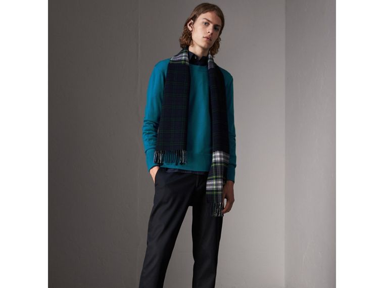 Check Detail Merino Wool Sweater in Mineral Blue - Men | Burberry United Kingdom - cell image 4