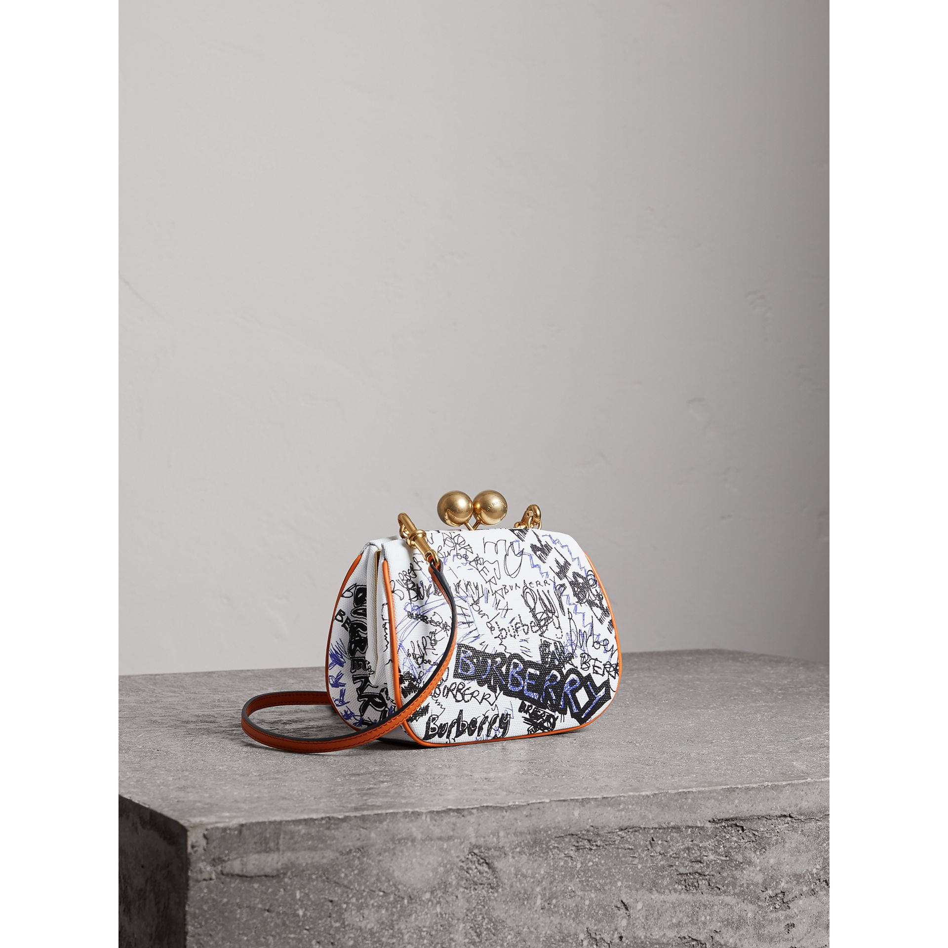 Small Doodle Print Metal Frame Clutch Bag in White/orange Saffron - Women | Burberry - gallery image 3