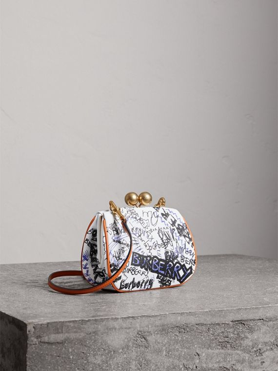 Small Doodle Print Metal Frame Clutch Bag in White/orange Saffron - Women | Burberry - cell image 3