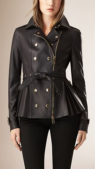 Pleated Peplum Leather Jacket