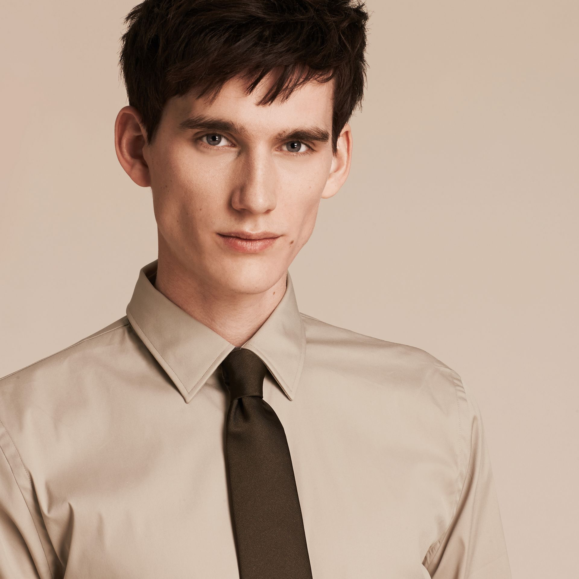 Taupe Slim Fit Stretch Cotton Blend Shirt Taupe - gallery image 5